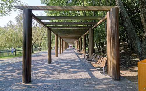 Landscape Park Alley Construction Wood Banks