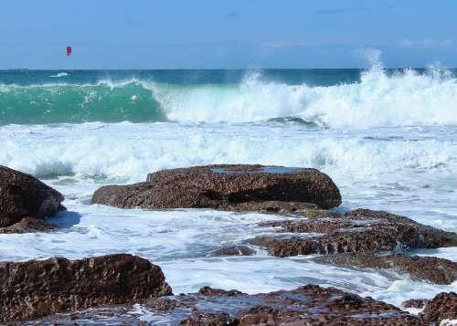 Beach Wave Rocks Ocean Sea Summer Surf Coast