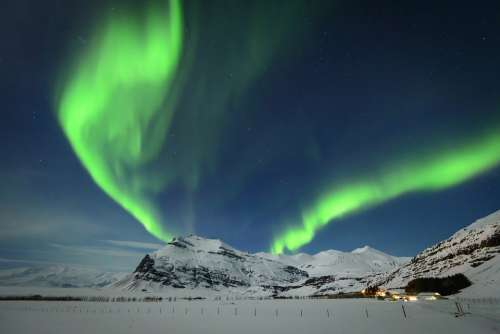 North Northern Lights Pole Cold Snow
