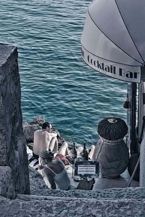 Cocktail Champagne Rovinj Istria Swim Stairs Sea