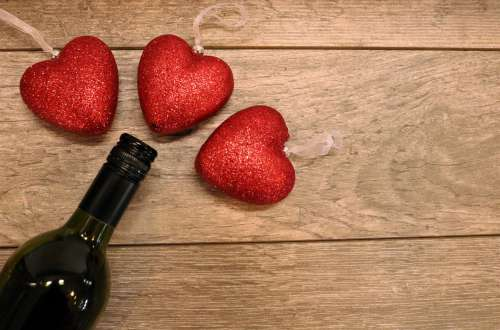 Red Glitter Hearts And Wine Bottle