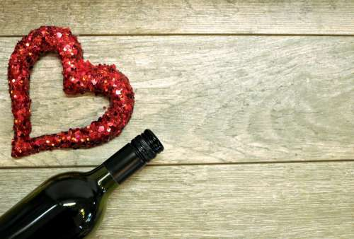 Red Glitter Heart And Wine Bottle
