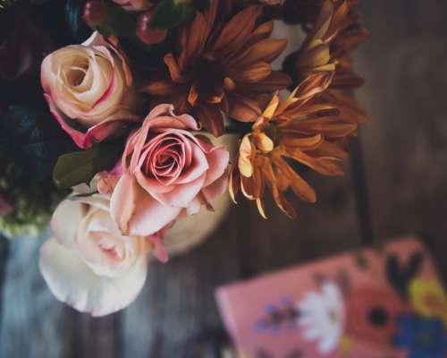 flowers bouquet table colorful fresh