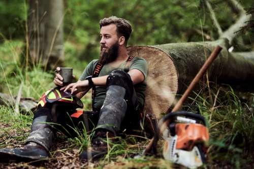 man beard outdoors lumberjack woodsman
