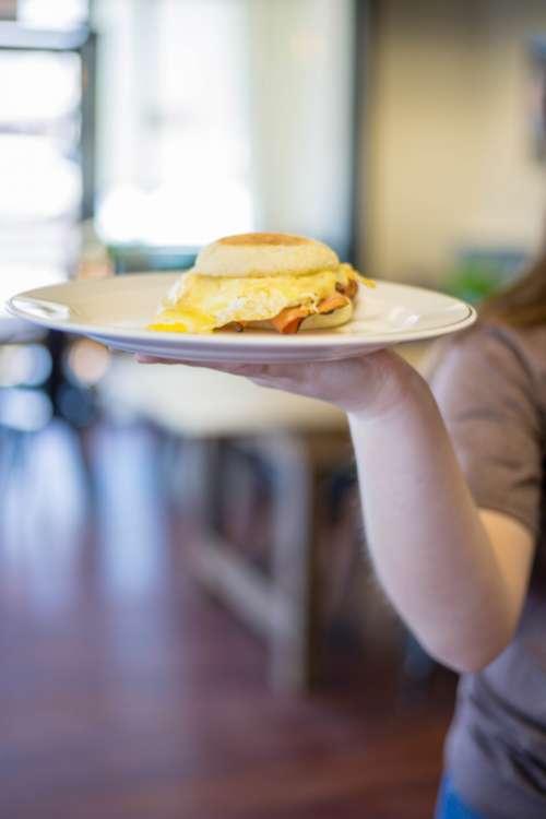 sandwich plate food waitress restaurant