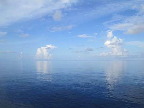 ocean sky clouds horizon sea