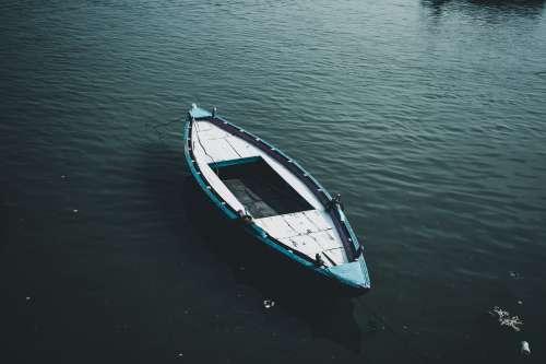 Lone Blue Canoe Photo