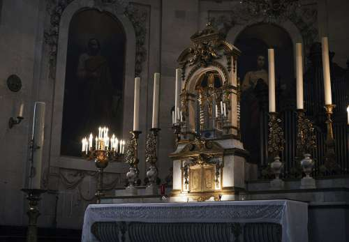 Candle-lit Church Altar Photo
