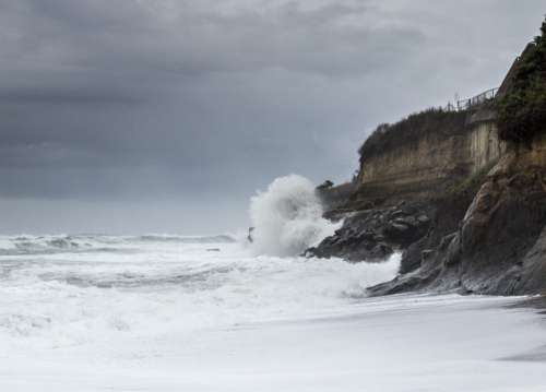 Waves Crashing Rocks Free Photo