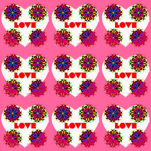 Pattern With A Heart And Flowers