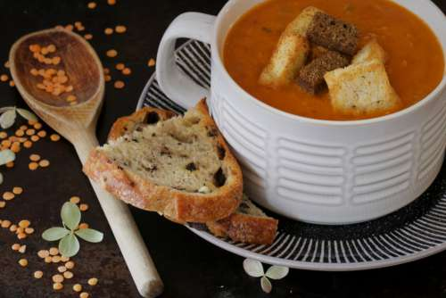 bowl soup food bread cup