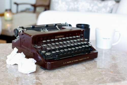 typewriter table vintage desk mug