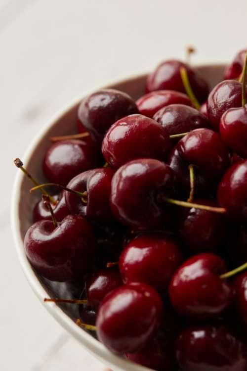 cherries bowl fruit close up food