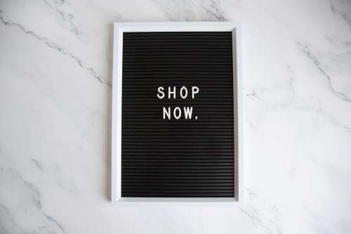 Shop Now Letter Board Photo