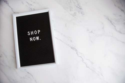 Letter Board Says 'Shop Now' Photo