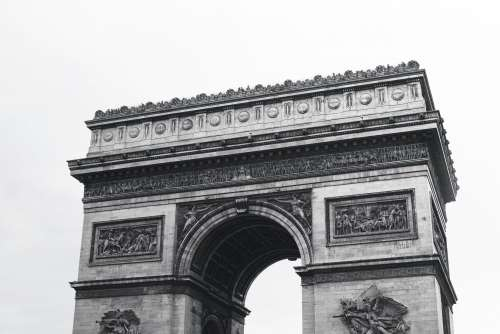 Arc Du Triomphe In Black And White Photo