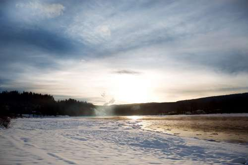 A Snowy River Bed And Icy River Photo