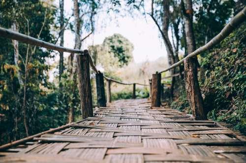 Wooden Woven Bamboo Walking Bridge Photo
