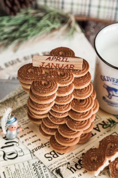 Close up of stacked sugar coated cookies