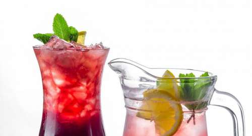 Close up of tropical cocktails
