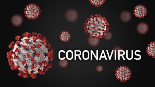 Coronavirus Illustration with Many Viruses, Dark Background