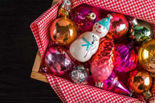 Overhead view of Christmas decoration ornaments