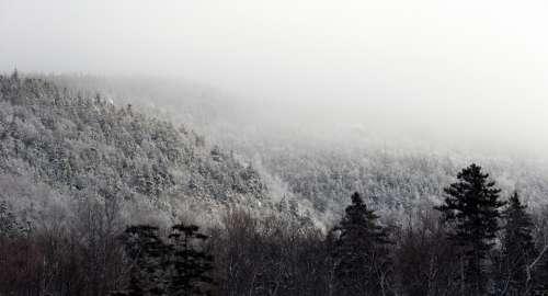 winter landscape mountains sky clouds