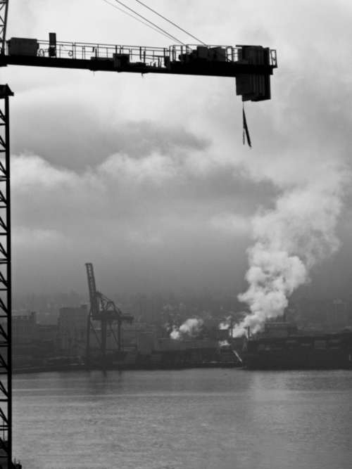 industrial crane city harbor buildings