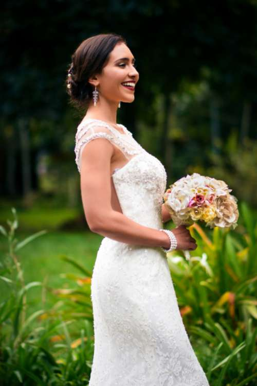 bride wedding smiling happiness flowers