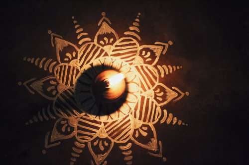 Mandala With Candle Photo