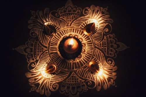 Mandala With Candles Photo