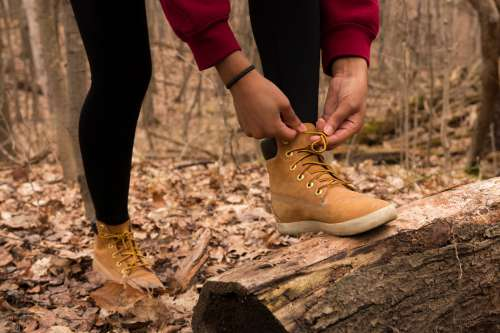 Hiker In The Woods Stops To Tie Laces Photo