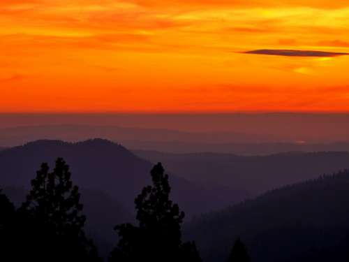 Fiery Mountain Sunset Photo