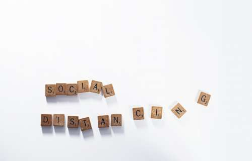 Social Distancing In Wooden Letter Tiles Photo