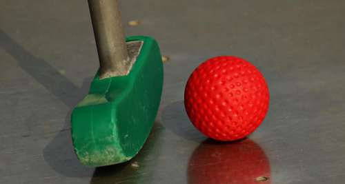 Mini golf - colorful ball and putter