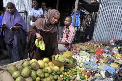 market, saleswoman, fruits, food products, trade, customers, banana, papaya, veil, scarf, hijab, man, facial expression