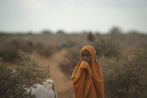 desert, people, girl, child, kid, hijab, veil, scarf, facial expression, look, refugee