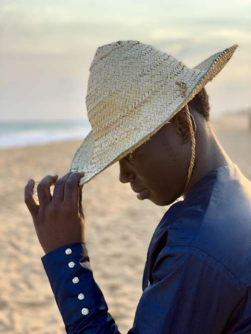 people, man, traditional hat, gestural, pose, posture, model, mannequin, fashion, straw hat