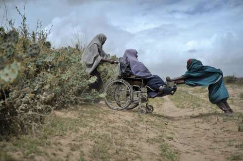 people, family, nurse, injured, war wounded, help, assistance, support, aid, wheelchair