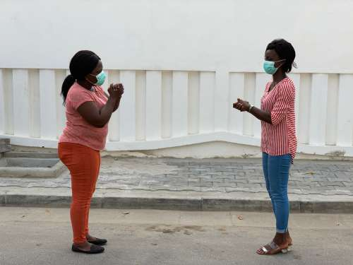 women, people, protective masks, greeting sign, street, girls, barrier gestures, gestural, respect, safety distance, covid19, coronavirus, health, quarantine, social distancing, pandemic