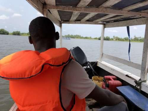 wonderful landscape, people, man, tourist, ecotourism, motorized boat, visit, salt lake, river, promenade, water, discovery, safety jacket, view, nature