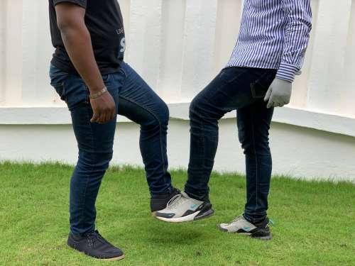 people, men, greeting, legs, sneakers, protection, coronavirus, covid19, COVID-19, barrier gesture, foot hi
