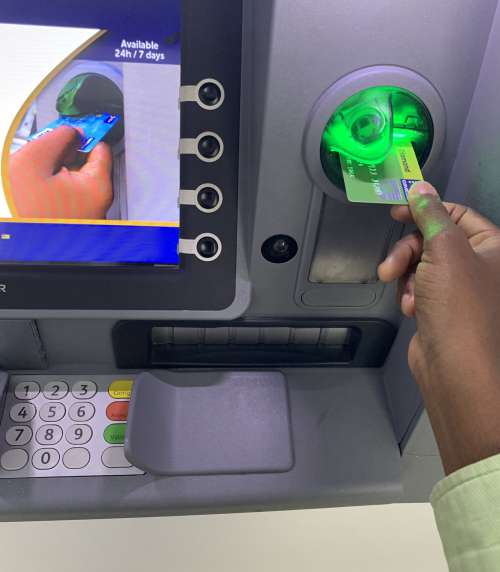 credit card, ATM, cash withdrawal, bank, people, financial transaction, money, change