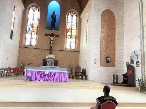 man, seated, church, altar, credenza, choir, crucifix, people, Holy place, parish, prayer, religion, Jesus