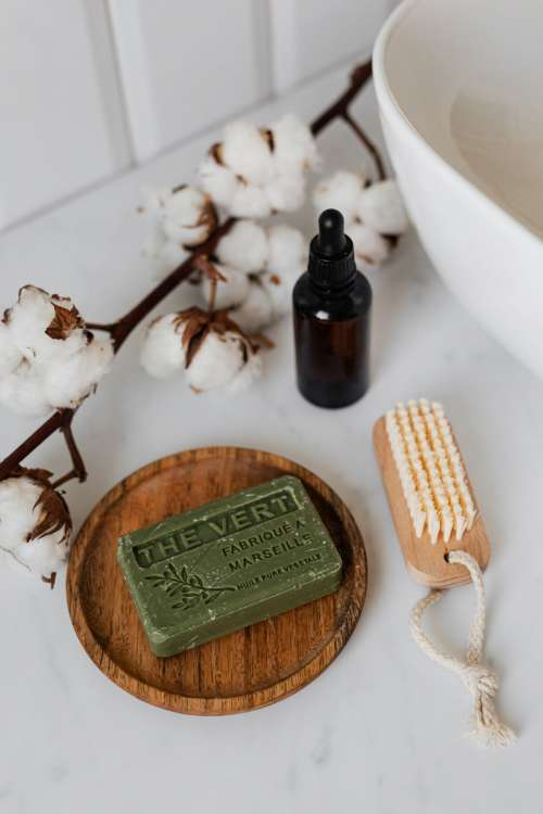 Olive soap on a wooden tray