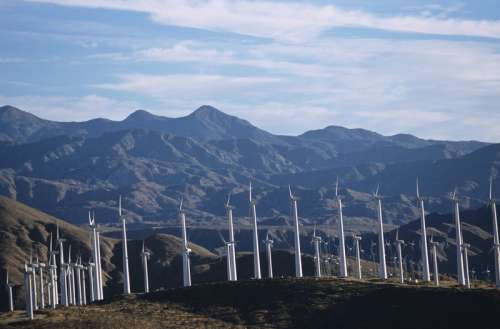 Renewable energy wind turbines, Whitewater, CA, USA,,
