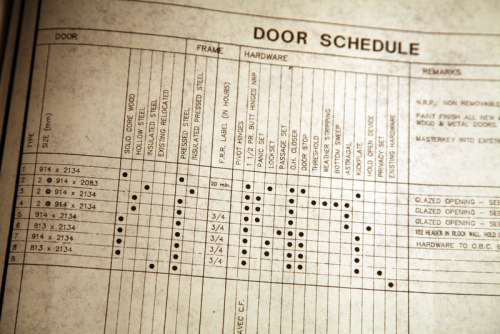 Page from blueprints with door schedule