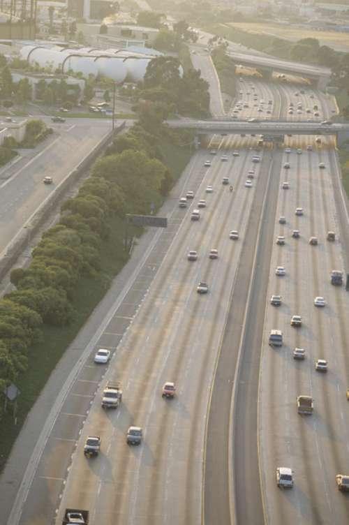 Los Angeles Freeway; light traffic, aerial view