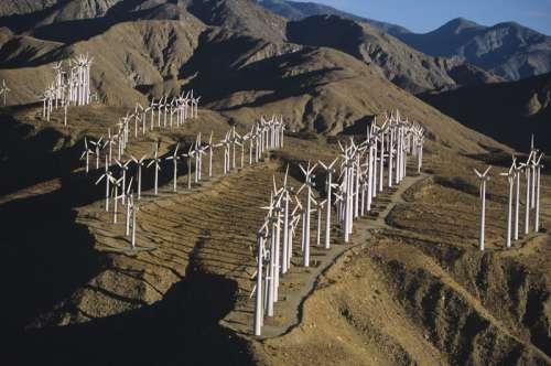 Renewable energy wind turbines, Whitewater, CA, USA,, (High angle view)