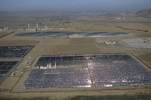 Renewable energy solar power plant using parabolic through mirrors, Daggett, CA, USA, (Aerial view)